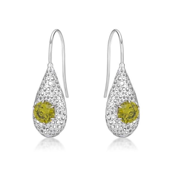 Cacoon Sterling Silver Drop Earrings, Peridot Green Cubic Zirconia