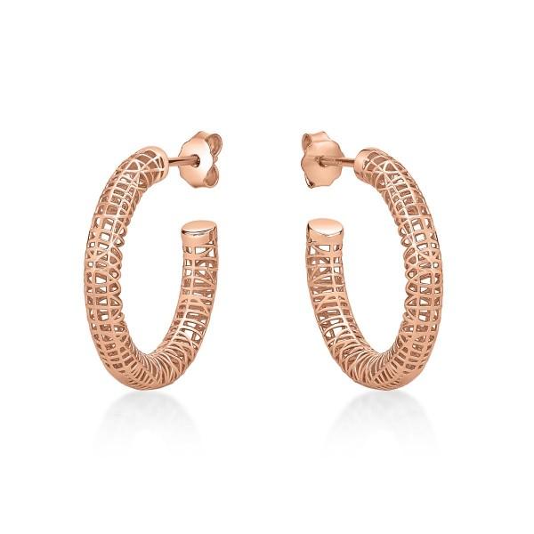 Rose Gold Plated Web Design 925 Sterling Silver Hoop Earrings