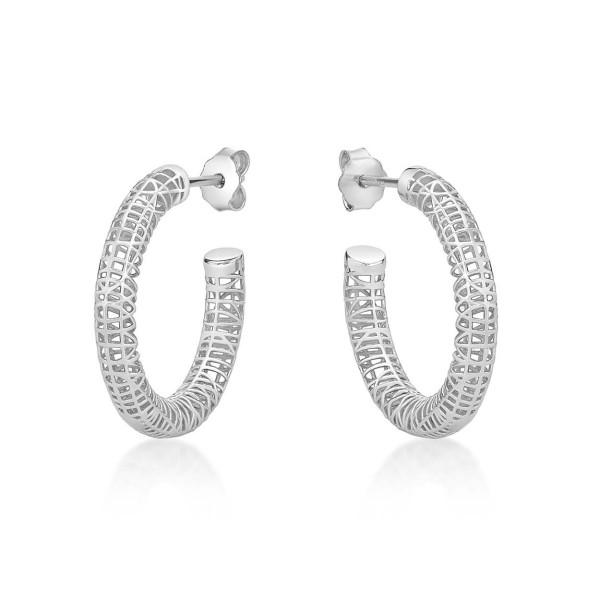 Web Design 925 Sterling Silver Hoop Earrings