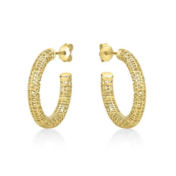Gold Plated Web Design 925 Sterling Silver Hoop Earrings