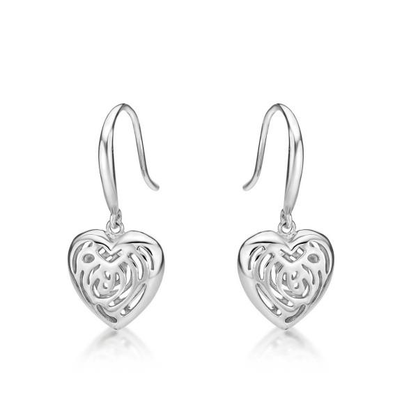 Dangling Heart 925 Sterling Silver Drop Earrings
