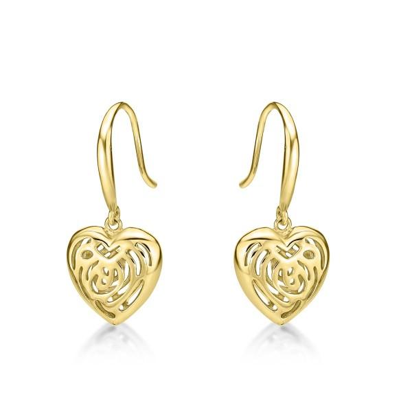Gold Plated Webbed Heart 925 Sterling Silver Drop Earrings
