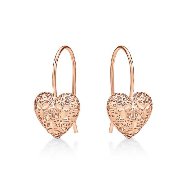 Rose Gold Plated Webbed Heart 925 Sterling Silver Drop Earrings