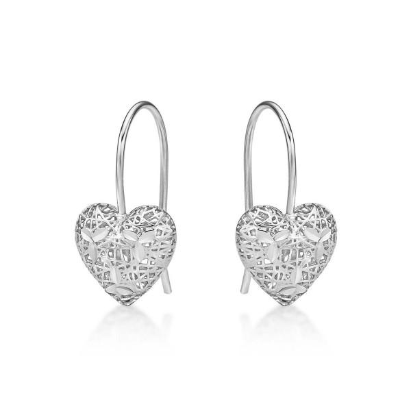 Webbed Heart 925 Sterling Silver Drop Earrings