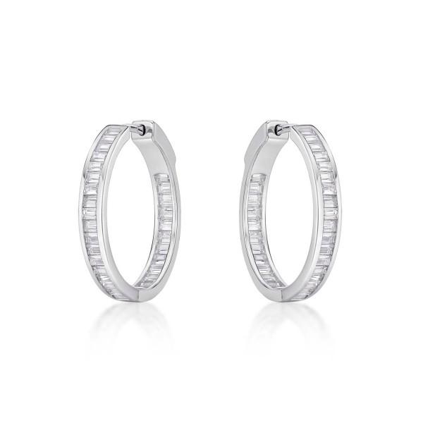Sterling Silver Hoop Earrings 25mm, Channel Set Baguette Cubic Zirconia