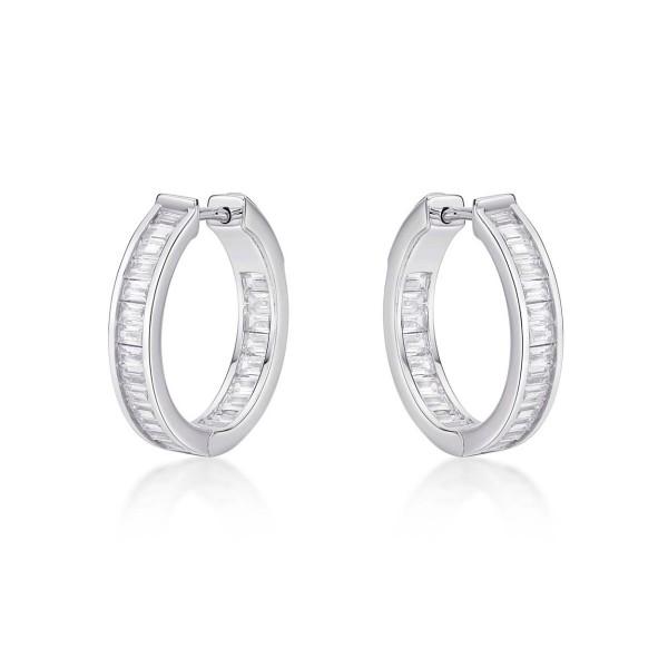Sterling Silver Hoop Earrings 20mm, Channel Set Baguette Cubic Zirconia