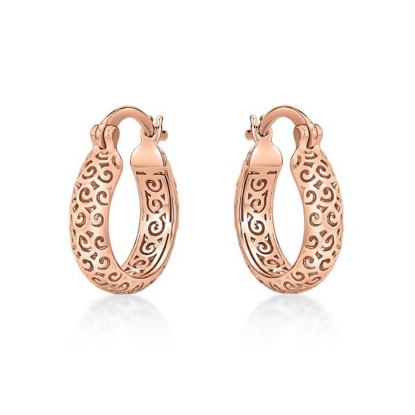 Rose Gold Plated Ornate 925 Sterling Silver Hoop Earrings