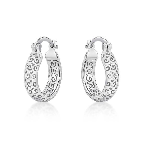 Ornate 925 Sterling Silver Hoop Earrings