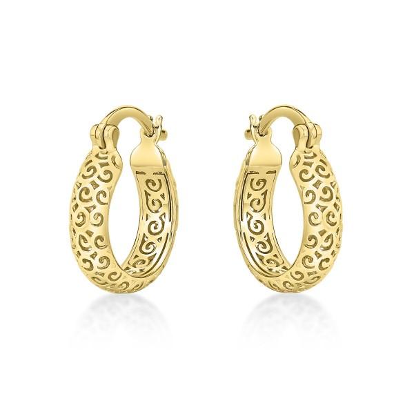 Gold Plated Ornate 925 Sterling Silver Hoop Earrings