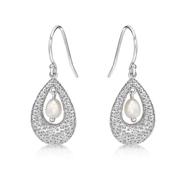 Vintage Freshwater Pearl 925 Sterling Silver Dangling Earrings