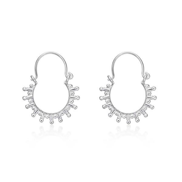 Solar 925 Sterling Silver Hoop Earrings
