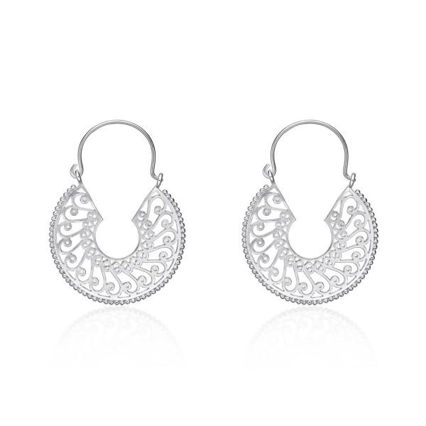 Intricate Design Vintage 925 Sterling Silver Hoop Earrings