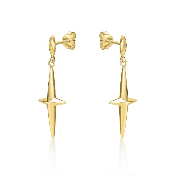 Simple Cross Drop Earrings in Gold Plated 925 Sterling Silver