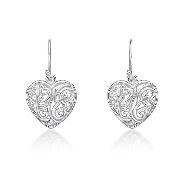 Swirling Heart 925 Sterling Silver Dangle Earrings