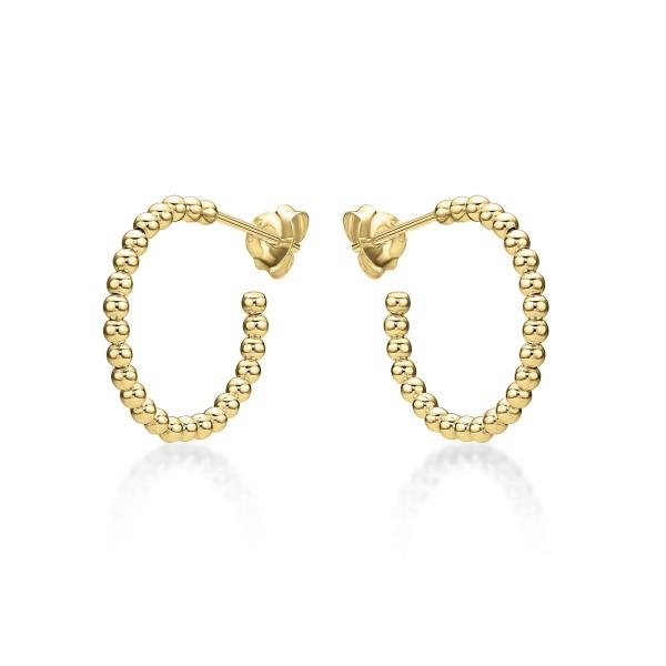 Beaded Design Gold Plated 925 Sterling Silver Hoop Earrings