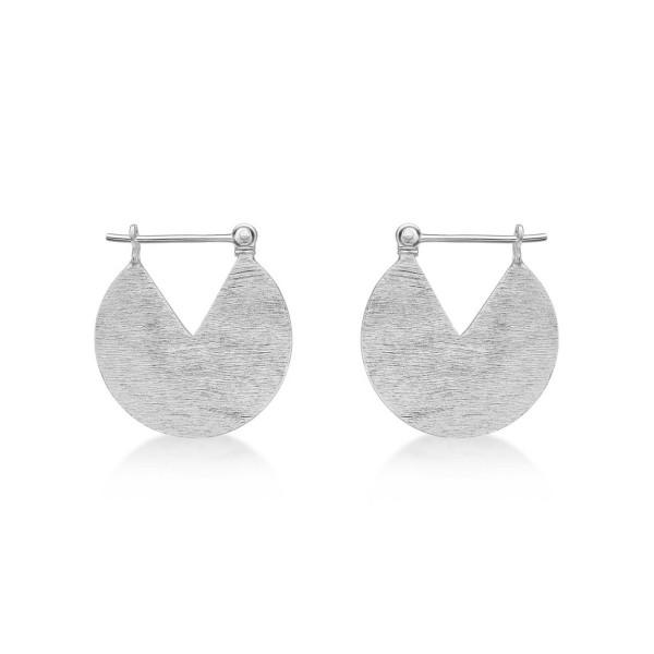 Brushed Finish Disk Sterling Silver Hoop Earrings