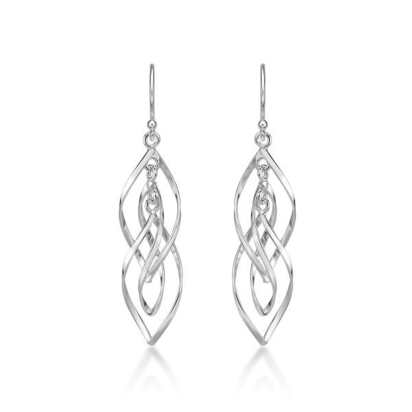 Dangling Spiral 925 Sterling Silver Twirl Earrings