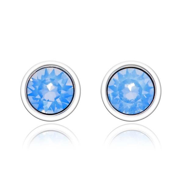 Air Blue Opal Swarovski Stud Earrings Sterling Silver