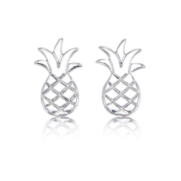 Flat Pineapple Stud Earrings in Sterling Silver