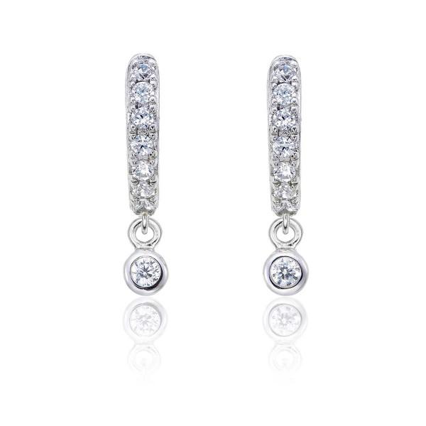 Zirconia Drop Hoop Earrings with Cubic Zirconia in Sterling Silver