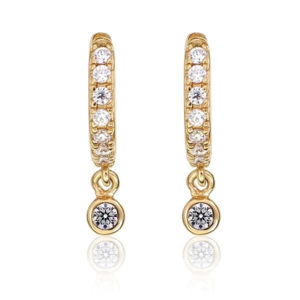 Zirconia Drop Gold Hoop Earrings Cubic Zirconia in Sterling Silver