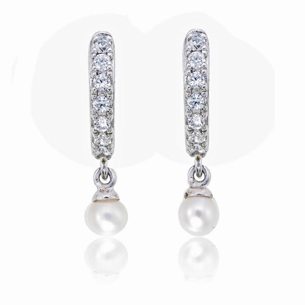 Pearl Drop Hoop Earrings with Cubic Zirconia in Sterling Silver