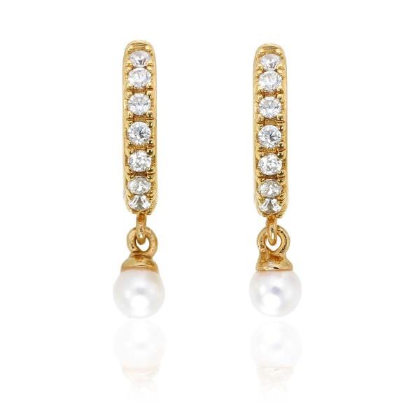 Pearl Drop Gold Hoop Earrings Cubic Zirconia in Sterling Silver