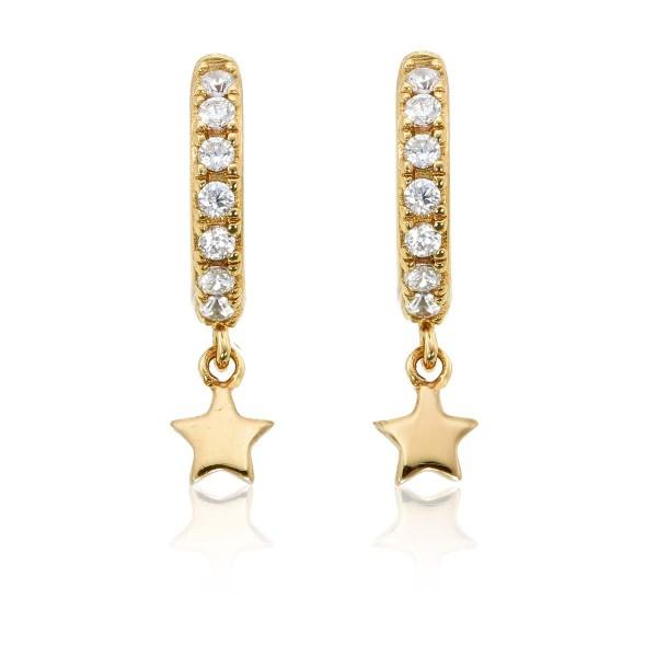 Star Drop Gold Hoop Earrings Cubic Zirconia in Sterling Silver