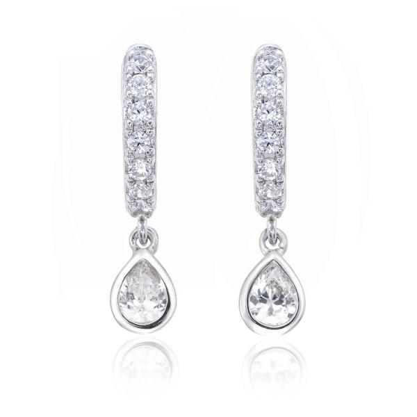 Pear Zirconia Drop Mini Hoop Earrings in Sterling Silver