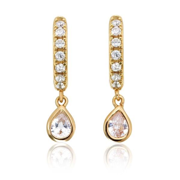 Pear Zirconia Drop Mini Hoop Earrings in Gold Plated Sterling Silver