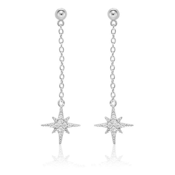 Long Star Drop Earrings Cubic Zirconia in Sterling Silver