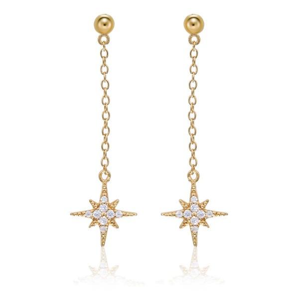 Gold Long Star Drop Earrings Cubic Zirconia in Sterling Silver