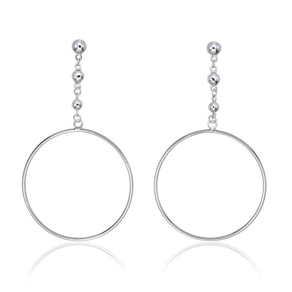 Hanging Circle Earrings in Sterling Silver