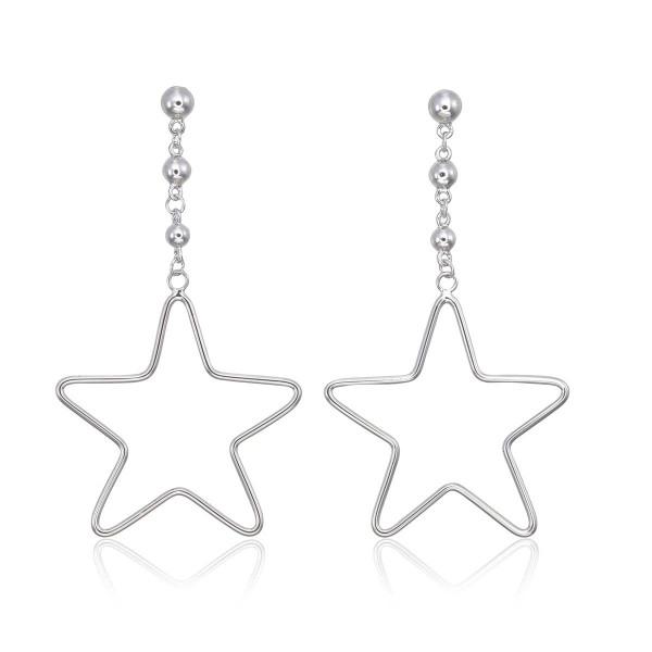 Hanging Star Earrings in Sterling Silver