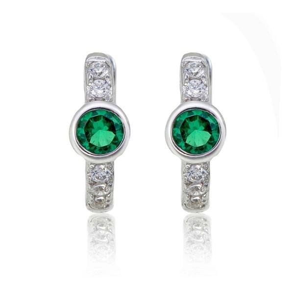 Bezel Green Zirconia Hoop Earrings Cubic Zirconia in Sterling Silver