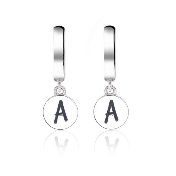 Alphabet A Initial Mini Hoop Earrings in Sterling Silver