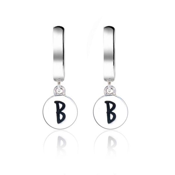 Alphabet B Initial Mini Hoop Earrings in Sterling Silver