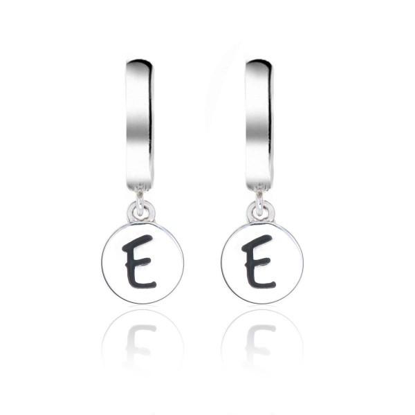 Alphabet E Initial Mini Hoop Earrings in Sterling Silver