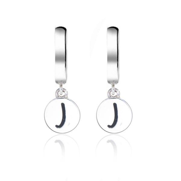 Alphabet J Initial Mini Hoop Earrings in Sterling Silver