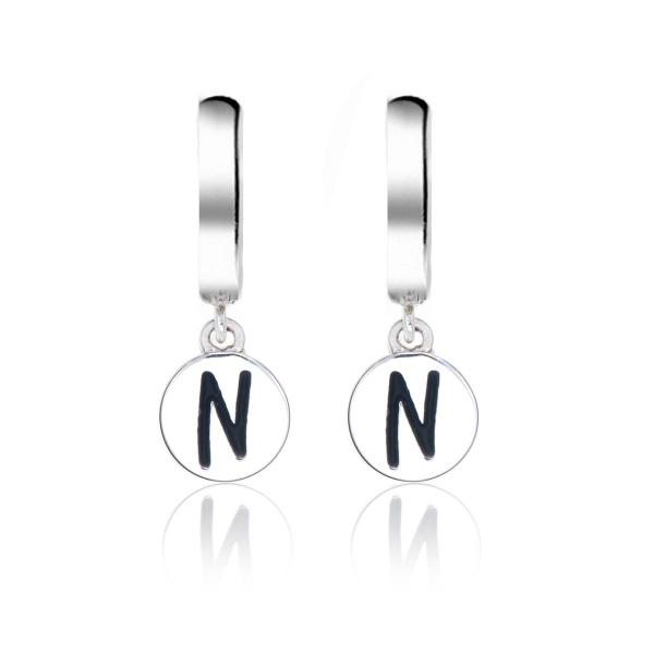 Alphabet N Initial Mini Hoop Earrings in Sterling Silver