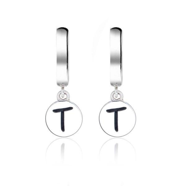 Alphabet T Initial Mini Hoop Earrings in Sterling Silver