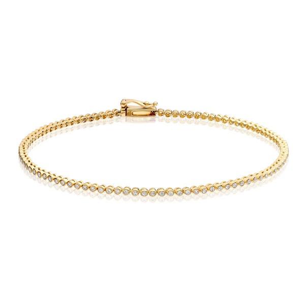 Diamond Tennis Bracelet 0.50ct G/HSI Quality Bezel Set 18K Yellow Gold