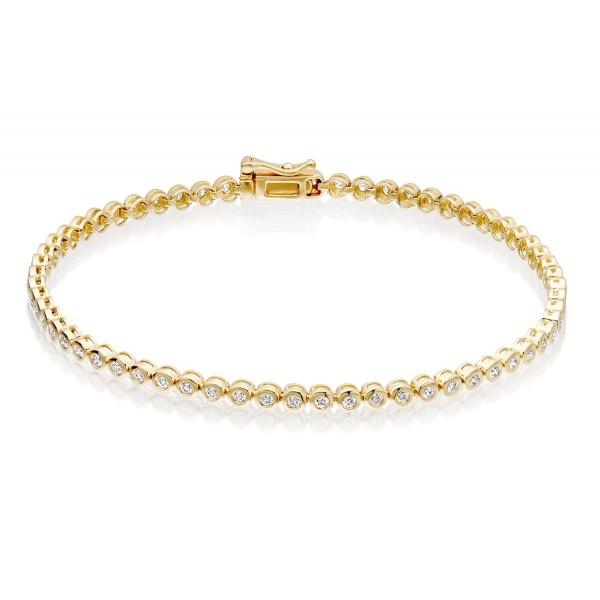 Diamond Tennis Bracelet 1ct Diamond G/HSI Bezel Set 18K Yellow Gold