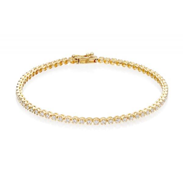 Diamond Tennis Bracelet 1ct Diamond G/HSI Basket Claw 18K Yellow Gold