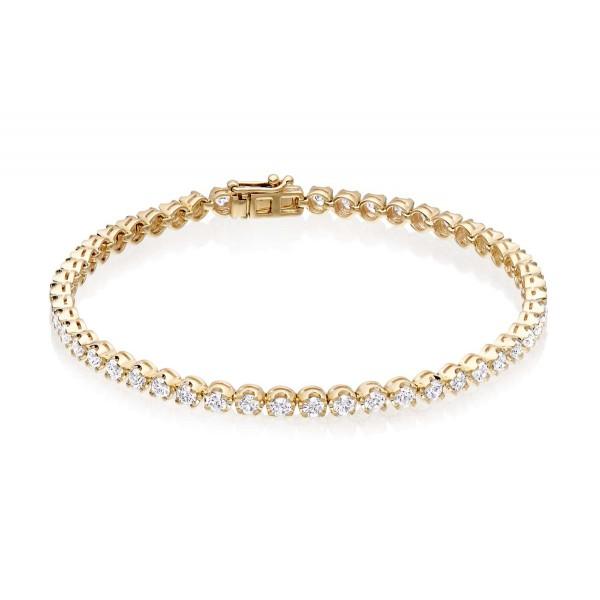 Diamond Tennis Bracelet 3ct G/HSI Quality Basket Claw 18K Yellow Gold
