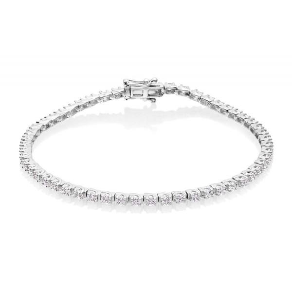 Diamond Tennis Bracelet 1ct Diamond G/HSI Box Claw 9K White Gold