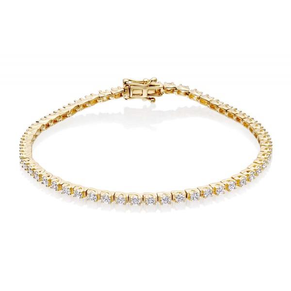 Diamond Tennis Bracelet 1ct Diamond G/HSI Box Claw 18K Yellow Gold