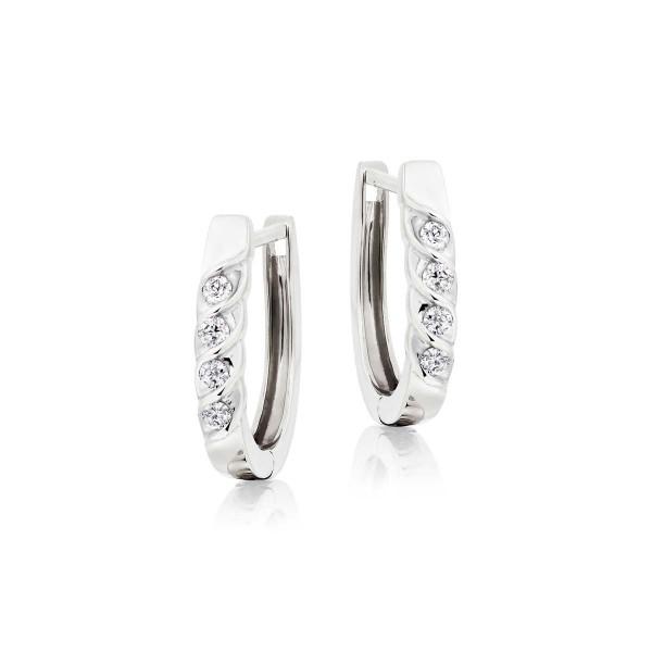 Diamond Hoop Earrings 0.25ct Diamond Wave Hoops in 18K White Gold