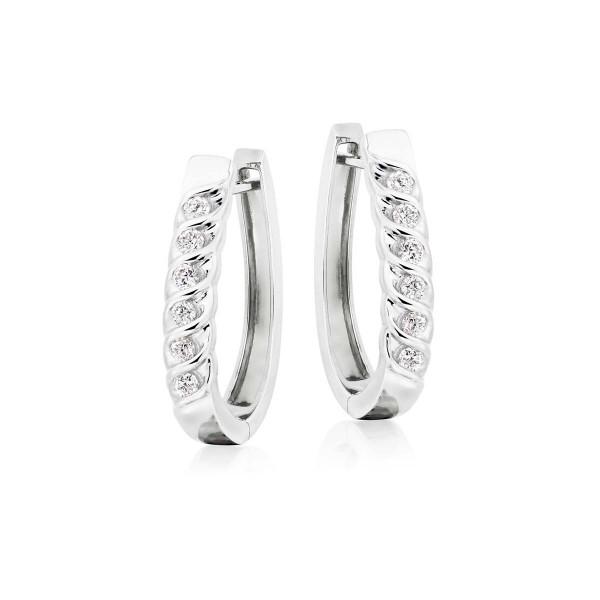 Diamond Hoop Earrings 0.40ct Diamond Wave Hoops in 18K White Gold