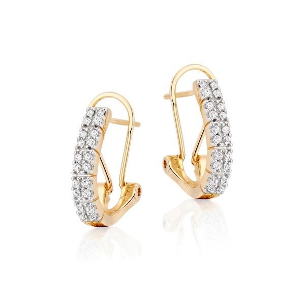 Diamond Hoop Earrings Twin Line 0.40ct Diamond Hoops 9K Yellow Gold